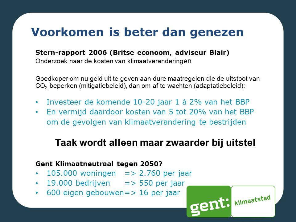Voorkomen is beter dan genezen Gent Klimaatneutraal tegen 2050? 105.000 woningen => 2.760 per jaar 19.000 bedrijven => 550 per jaar 600 eigen gebouwen