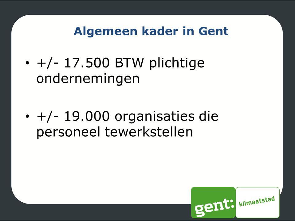 Algemeen kader in Gent +/- 17.500 BTW plichtige ondernemingen +/- 19.000 organisaties die personeel tewerkstellen