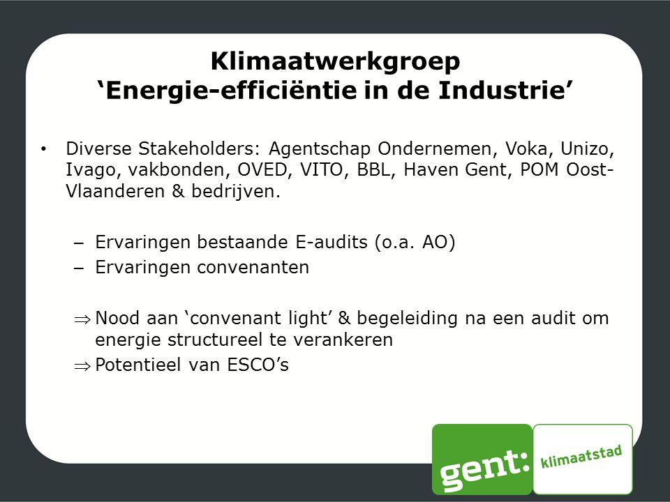 Klimaatwerkgroep 'Energie-efficiëntie in de Industrie' Diverse Stakeholders: Agentschap Ondernemen, Voka, Unizo, Ivago, vakbonden, OVED, VITO, BBL, Ha