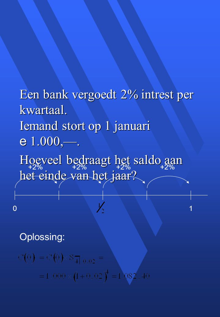 Een bank vergoedt 2% intrest per kwartaal. Iemand stort op 1 januari e 1.000,—.
