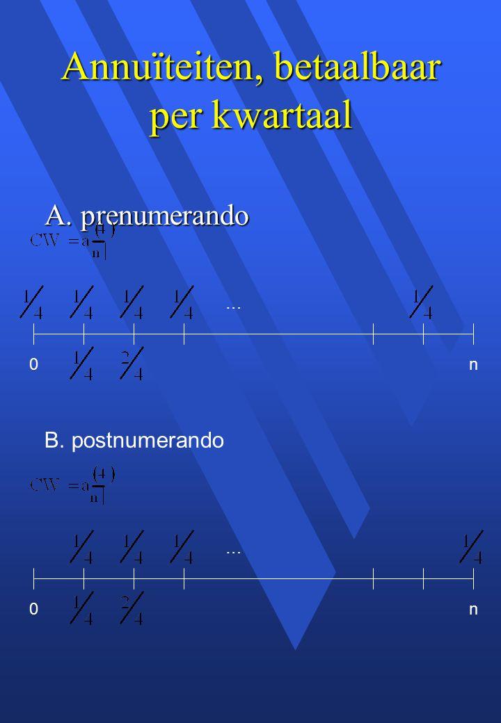 Annuïteiten, betaalbaar per kwartaal A. prenumerando B. postnumerando 0 … n 0 … n