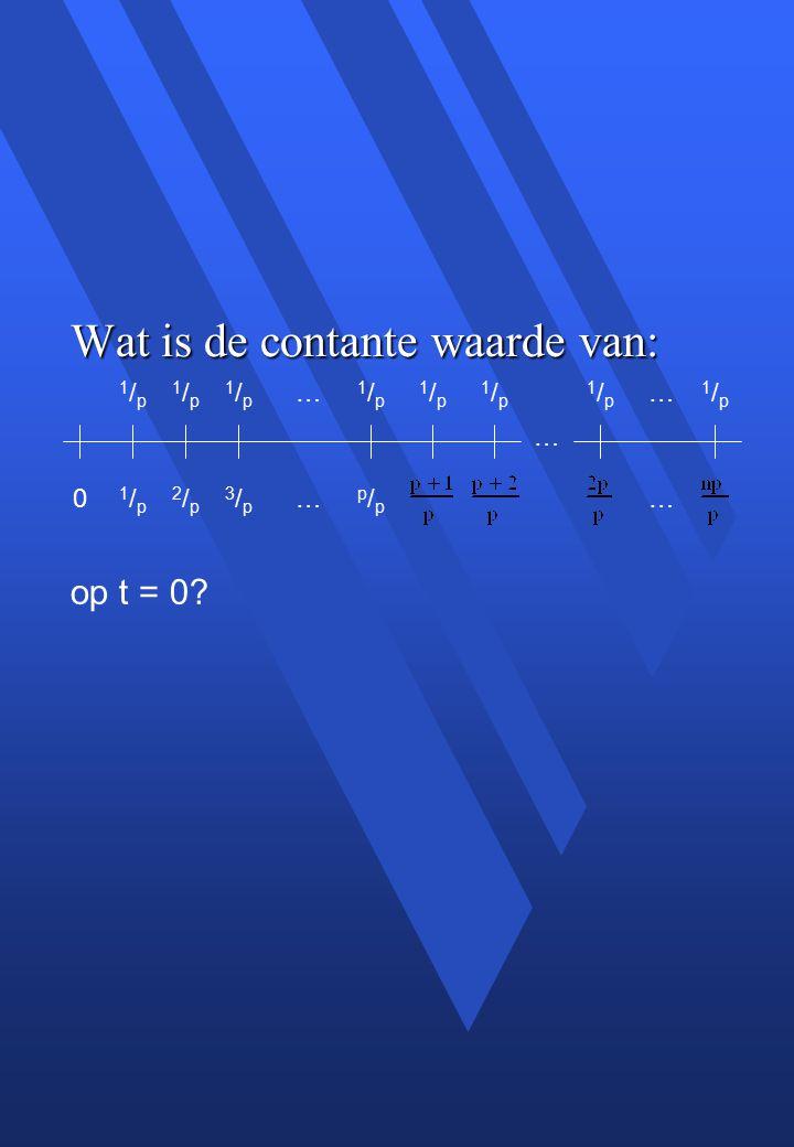 Wat is de contante waarde van: op t = 0.