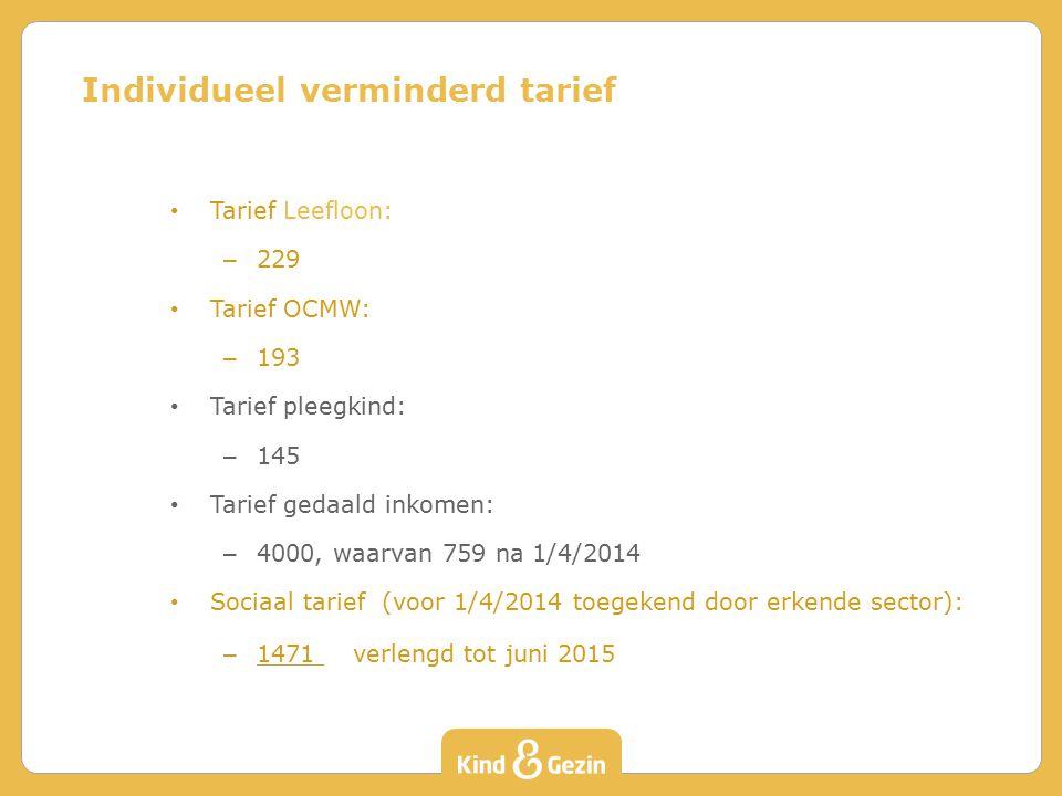 Tarief Leefloon: – 229 Tarief OCMW: – 193 Tarief pleegkind: – 145 Tarief gedaald inkomen: – 4000, waarvan 759 na 1/4/2014 Sociaal tarief (voor 1/4/2014 toegekend door erkende sector): – 1471 verlengd tot juni 2015 Individueel verminderd tarief