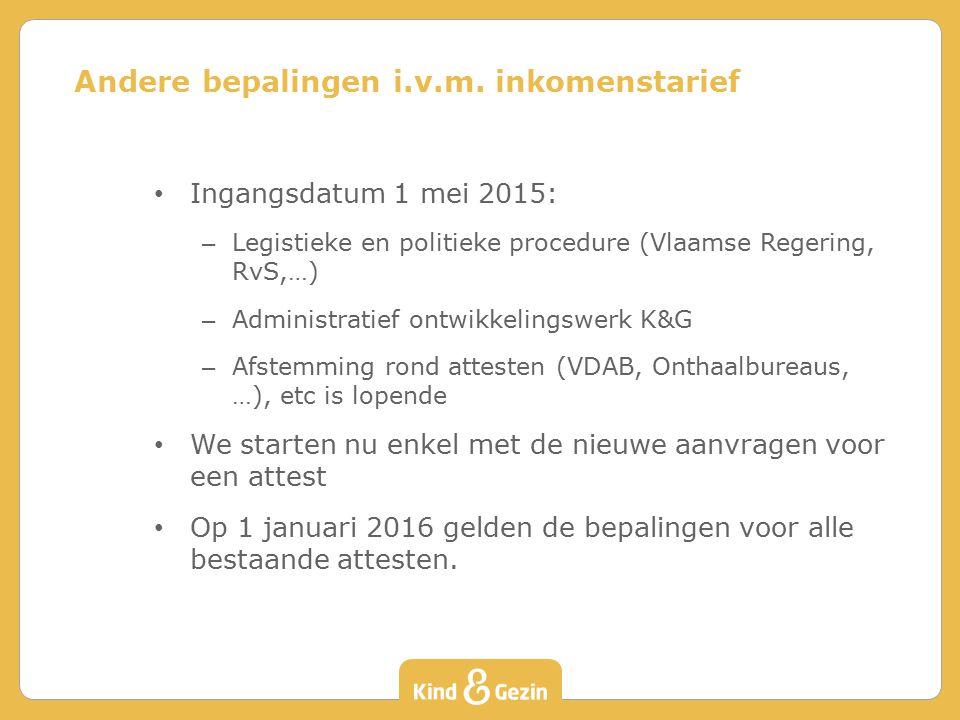 Ingangsdatum 1 mei 2015: – Legistieke en politieke procedure (Vlaamse Regering, RvS,…) – Administratief ontwikkelingswerk K&G – Afstemming rond attesten (VDAB, Onthaalbureaus, …), etc is lopende We starten nu enkel met de nieuwe aanvragen voor een attest Op 1 januari 2016 gelden de bepalingen voor alle bestaande attesten.