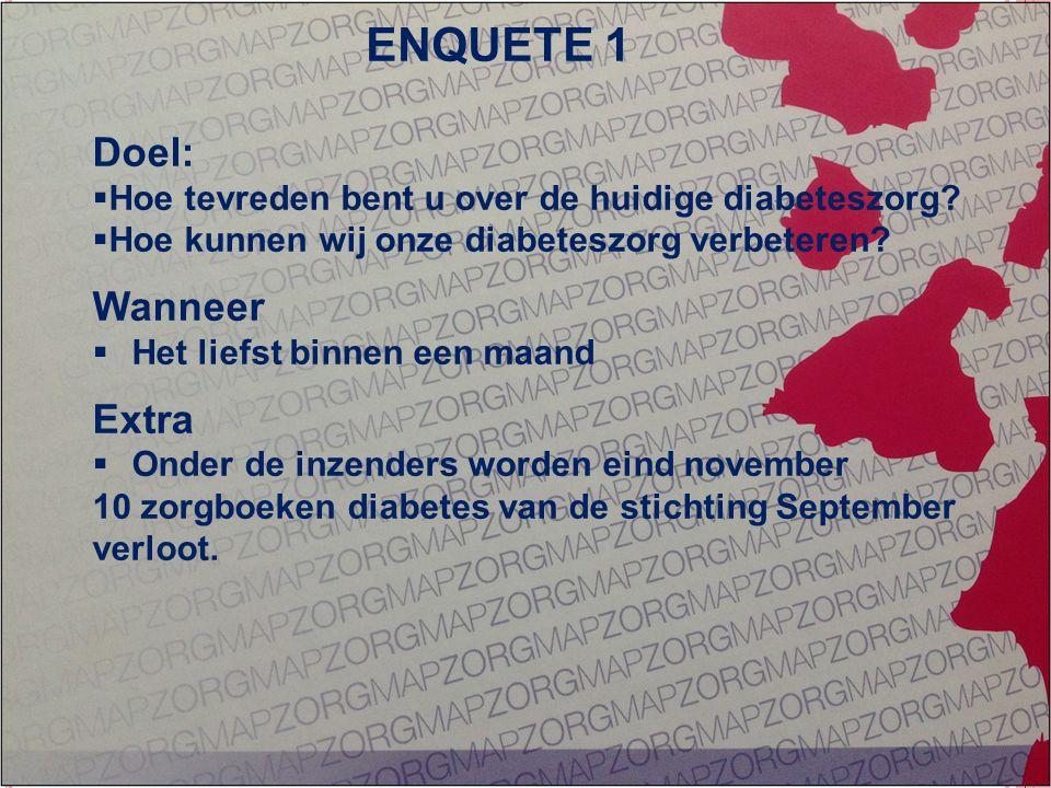 GEÏNTEGREERDE EERSTELIJNS ZORG ZORG OP MAAT Doel:  Hoe tevreden bent u over de huidige diabeteszorg.