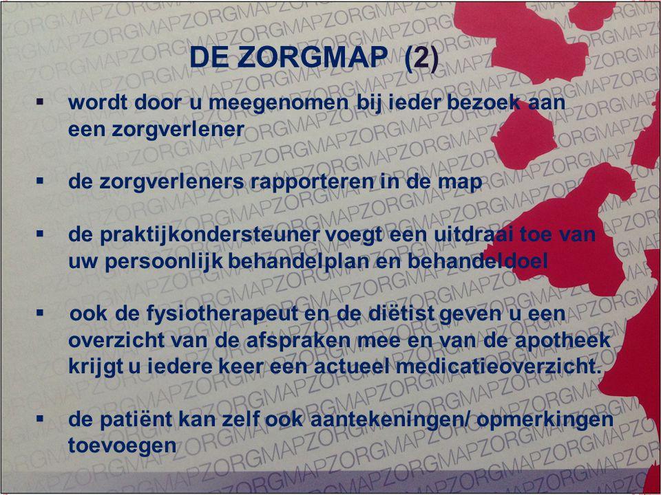GEÏNTEGREERDE EERSTELIJNS ZORG ZORG OP MAAT  wordt door u meegenomen bij ieder bezoek aan een zorgverlener  de zorgverleners rapporteren in de map 