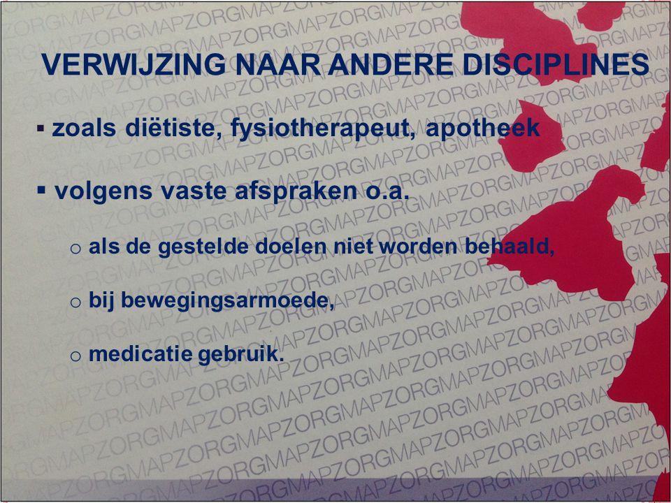 GEÏNTEGREERDE EERSTELIJNS ZORG ZORG OP MAAT  zoals diëtiste, fysiotherapeut, apotheek  volgens vaste afspraken o.a. o als de gestelde doelen niet wo