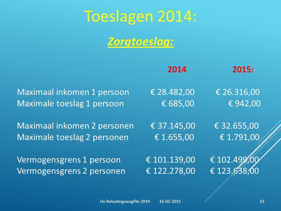 Toeslagen 2014: Zorgtoeslag: 2014 2015: Maximaal inkomen 1 persoon € 28.482,00 € 26.316,00 Maximale toeslag 1 persoon € 685,00 € 942,00 Maximaal inkom