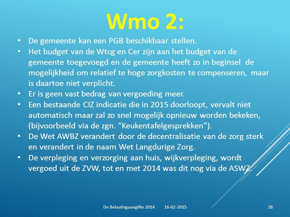 Wmo 2: De gemeente kan een PGB beschikbaar stellen. Het budget van de Wtcg en Cer zijn aan het budget van de gemeente toegevoegd en de gemeente heeft