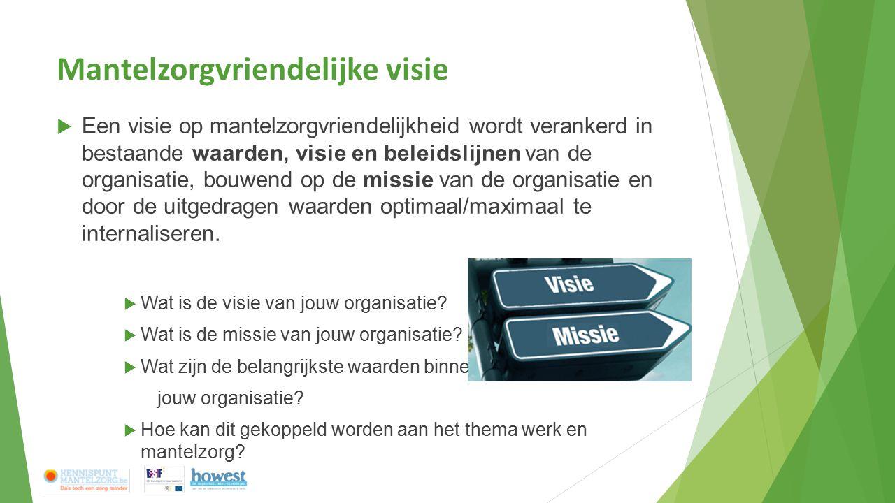 Mantelzorgvriendelijke visie  Een visie op mantelzorgvriendelijkheid wordt verankerd in bestaande waarden, visie en beleidslijnen van de organisatie,