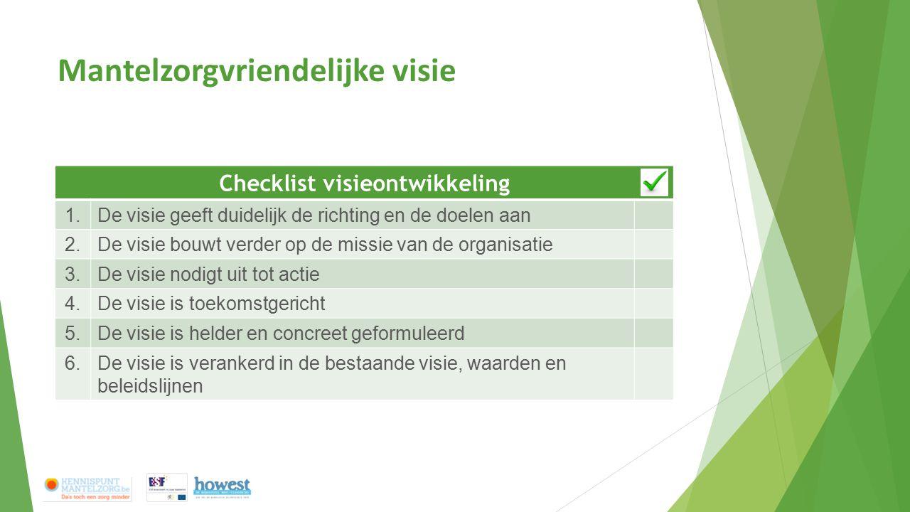 Mantelzorgvriendelijke visie Checklist visieontwikkeling 1.De visie geeft duidelijk de richting en de doelen aan 2.De visie bouwt verder op de missie