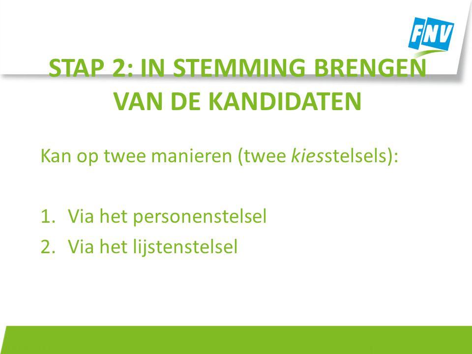 STAP 2: IN STEMMING BRENGEN VAN DE KANDIDATEN Kan op twee manieren (twee kiesstelsels): 1.Via het personenstelsel 2.Via het lijstenstelsel 14-4-2015 4