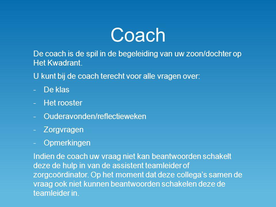 Coach De coach is de spil in de begeleiding van uw zoon/dochter op Het Kwadrant.