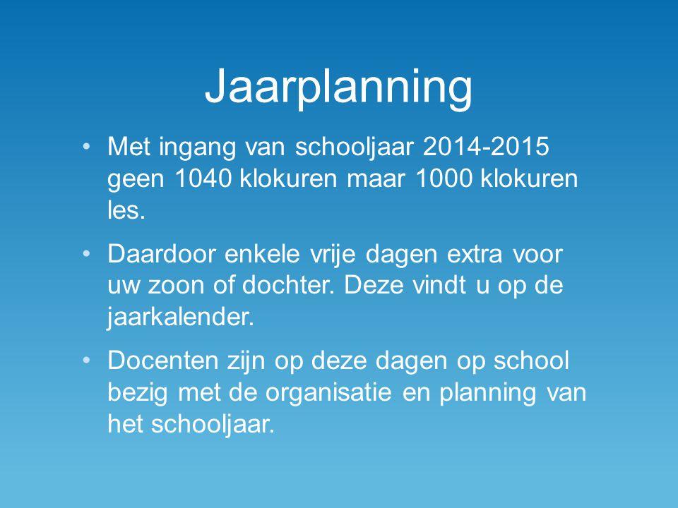 Jaarplanning Met ingang van schooljaar 2014-2015 geen 1040 klokuren maar 1000 klokuren les.