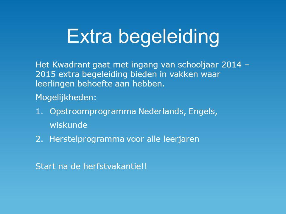 Extra begeleiding Het Kwadrant gaat met ingang van schooljaar 2014 – 2015 extra begeleiding bieden in vakken waar leerlingen behoefte aan hebben.