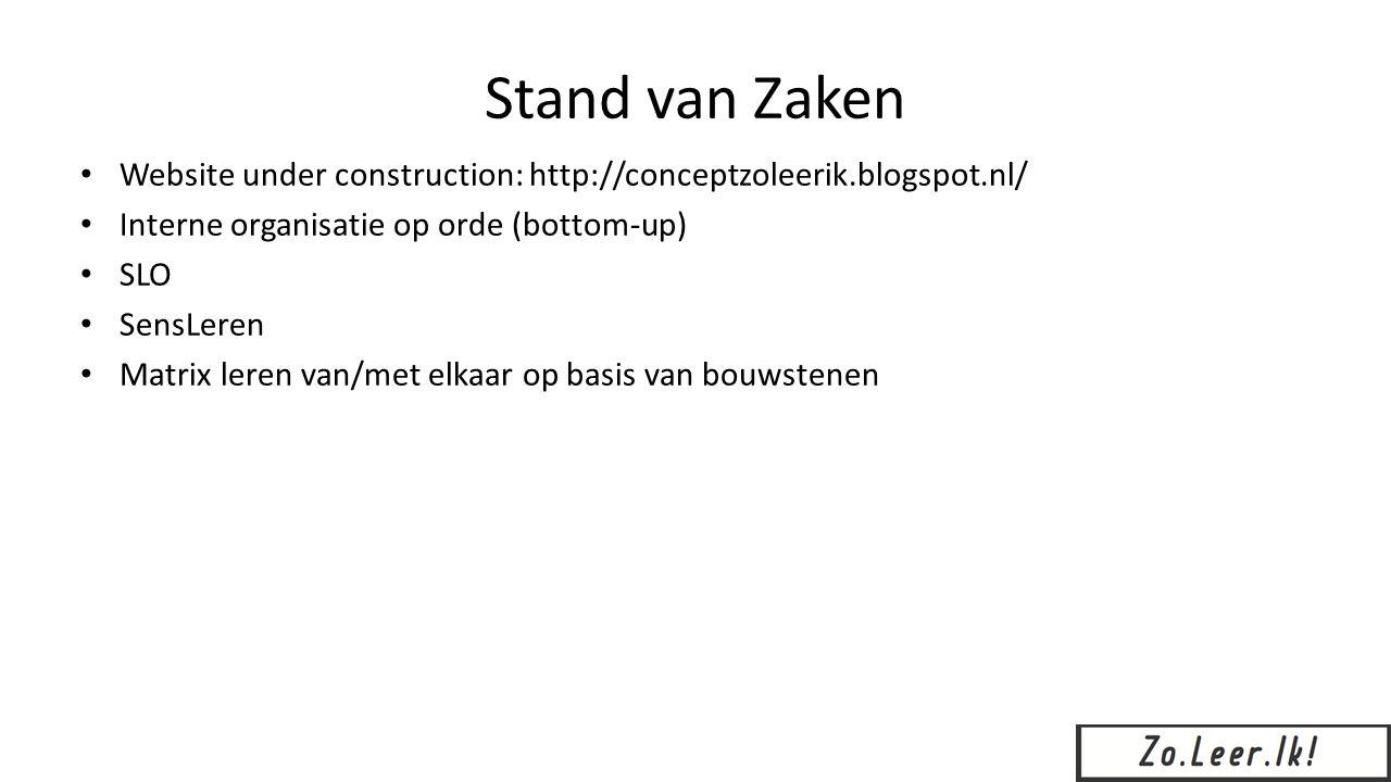 Stand van Zaken Website under construction: http://conceptzoleerik.blogspot.nl/ Interne organisatie op orde (bottom-up) SLO SensLeren Matrix leren van