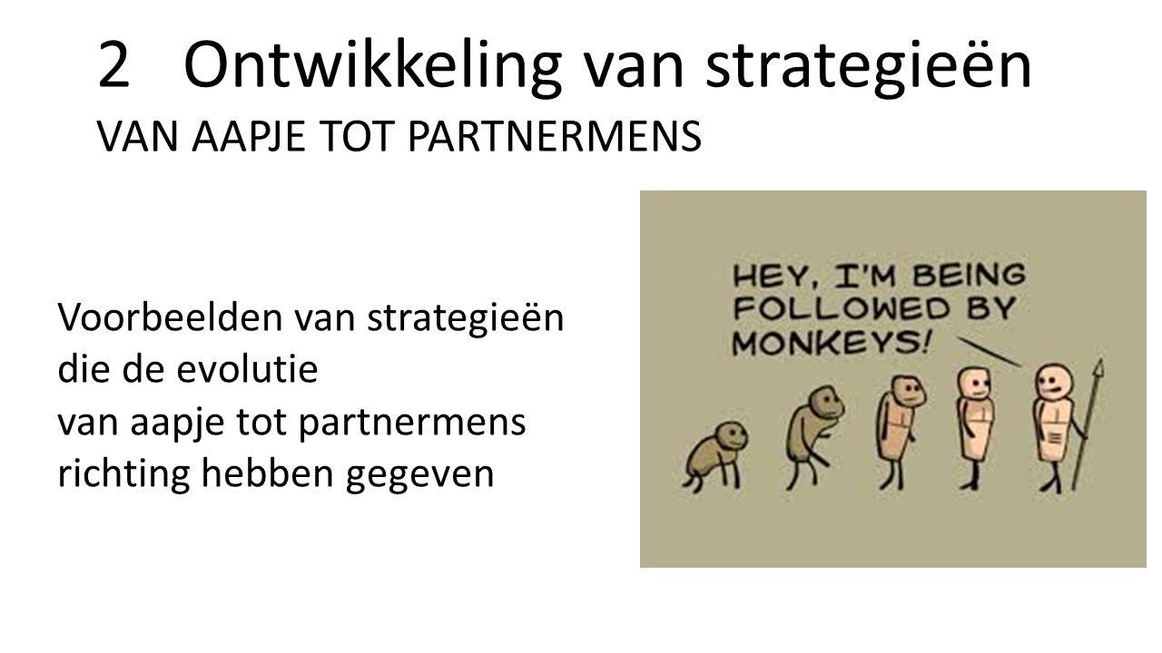 2 Ontwikkeling van strategieën VAN AAPJE TOT PARTNERMENS Voorbeelden van strategieën die de evolutie van aapje tot partnermens richting hebben gegeven