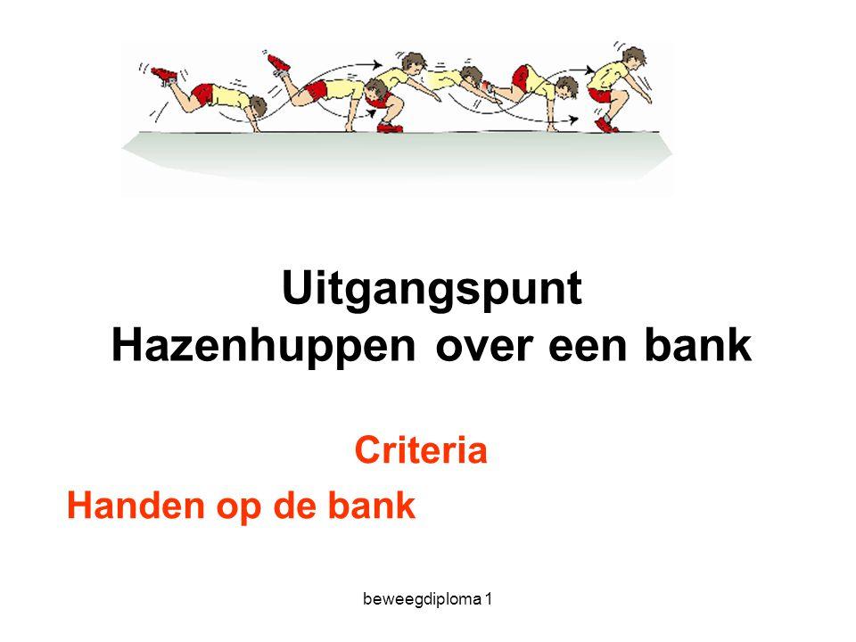 beweegdiploma 1 Uitgangspunt Hazenhuppen over een bank Criteria Handen op de bank