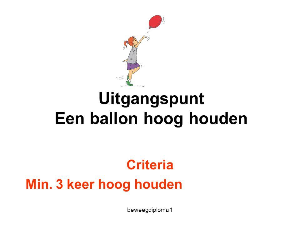 beweegdiploma 1 Uitgangspunt Een ballon hoog houden Criteria Min. 3 keer hoog houden
