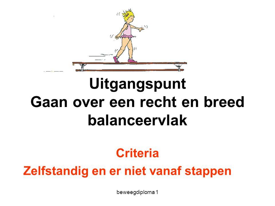 beweegdiploma 1 Uitgangspunt Gaan over een recht en breed balanceervlak Criteria Zelfstandig en er niet vanaf stappen