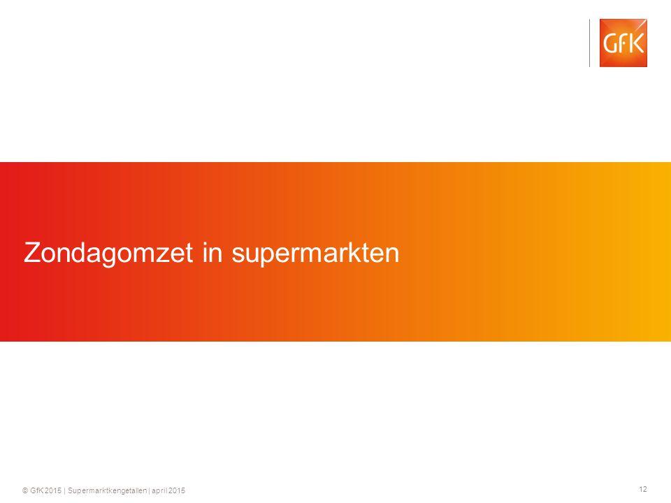 12 © GfK 2015 | Supermarktkengetallen | april 2015 Zondagomzet in supermarkten