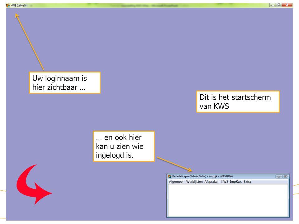12 KWS: startscherm Dit is het startscherm van KWS Uw loginnaam is hier zichtbaar … … en ook hier kan u zien wie ingelogd is.