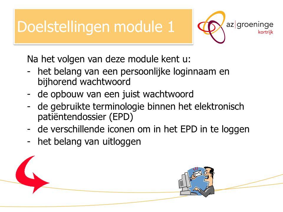Na het volgen van deze module kent u: -het belang van een persoonlijke loginnaam en bijhorend wachtwoord -de opbouw van een juist wachtwoord -de gebru