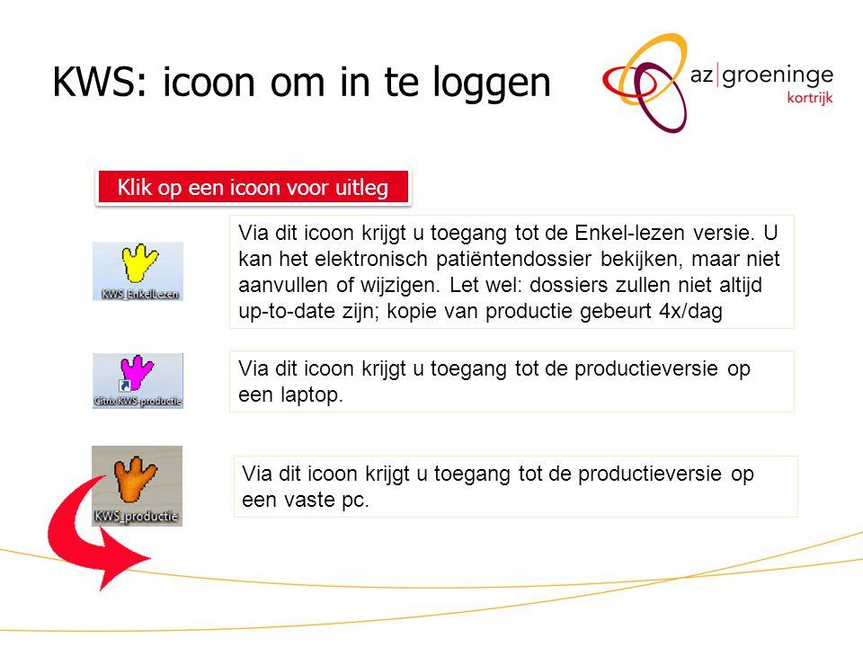 KWS: icoon om in te loggen Klik op een icoon voor uitleg Via dit icoon krijgt u toegang tot de Enkel-lezen versie. U kan het elektronisch patiëntendos