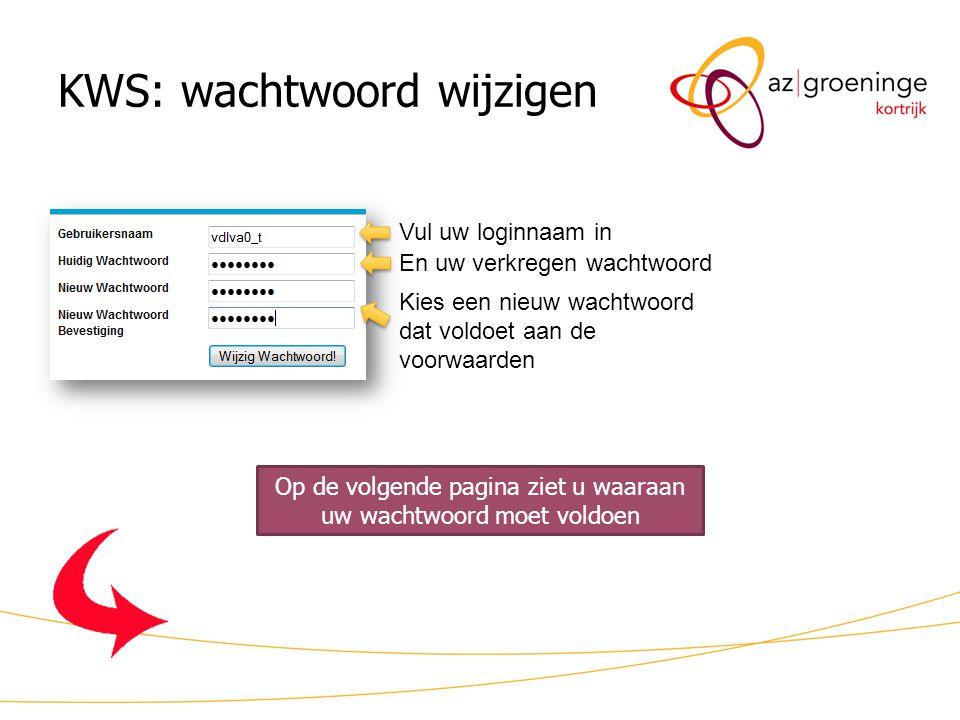 KWS: wachtwoord wijzigen Vul uw loginnaam in En uw verkregen wachtwoord Kies een nieuw wachtwoord dat voldoet aan de voorwaarden Op de volgende pagina