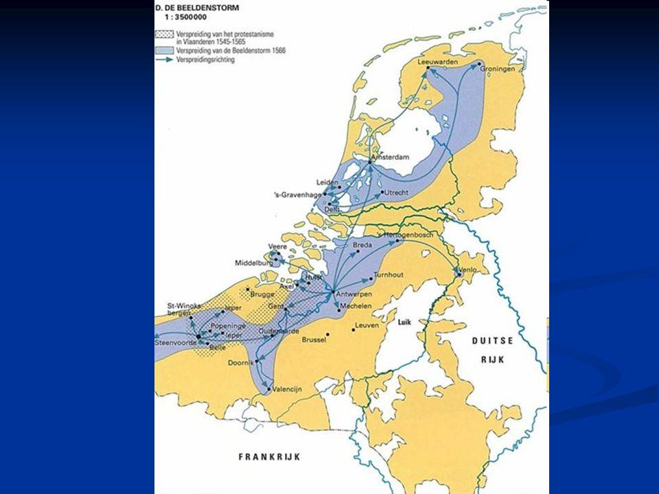 De Nederlanden verscheurd Margaretha van Parma mildert vervolging protestanten => veel protestanten keren terug Margaretha van Parma mildert vervolgin