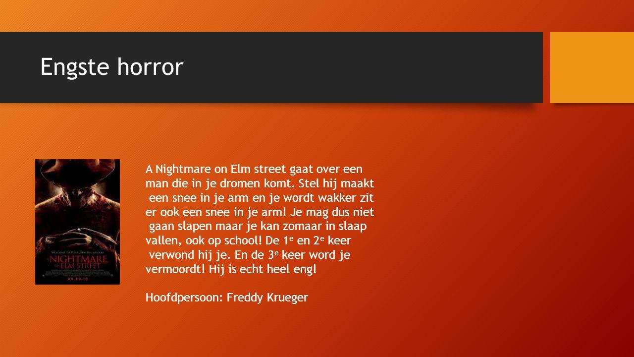 Engste horror A Nightmare on Elm street gaat over een man die in je dromen komt.