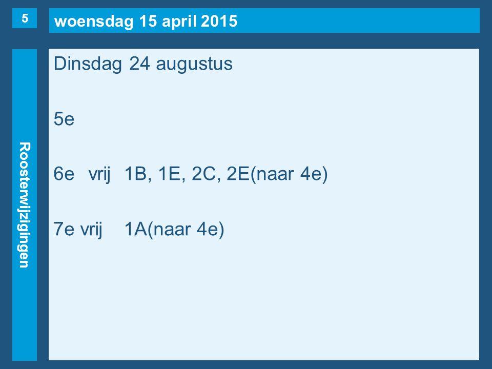 woensdag 15 april 2015 Roosterwijzigingen Dinsdag 24 augustus 5e 6evrij1B, 1E, 2C, 2E(naar 4e) 7e vrij1A(naar 4e) 5