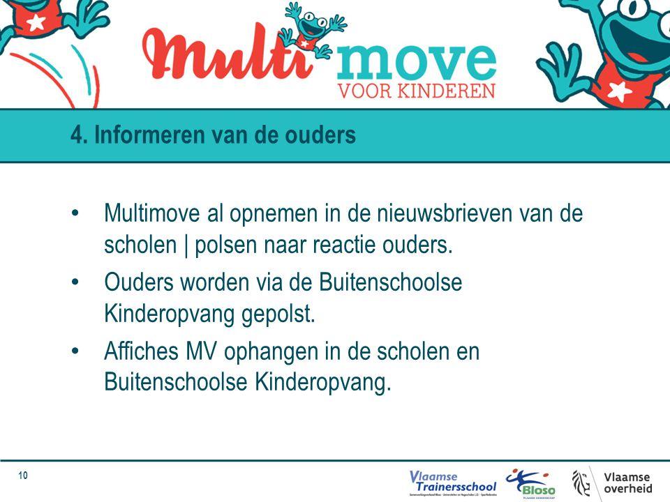 10 Multimove al opnemen in de nieuwsbrieven van de scholen | polsen naar reactie ouders. Ouders worden via de Buitenschoolse Kinderopvang gepolst. Aff