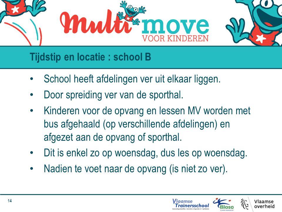 14 School heeft afdelingen ver uit elkaar liggen. Door spreiding ver van de sporthal. Kinderen voor de opvang en lessen MV worden met bus afgehaald (o