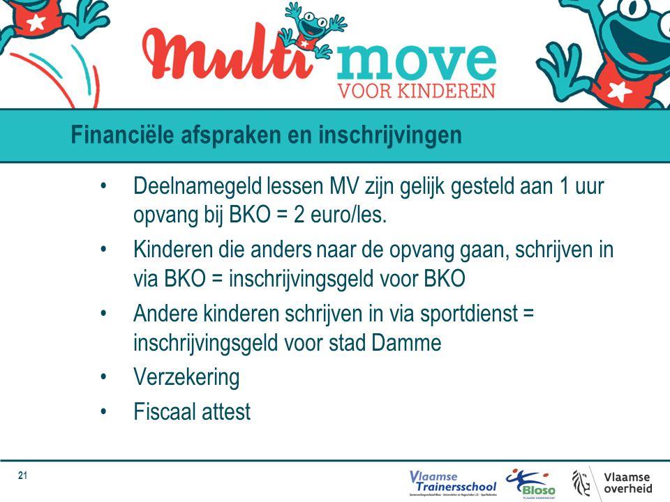 21 Deelnamegeld lessen MV zijn gelijk gesteld aan 1 uur opvang bij BKO = 2 euro/les. Kinderen die anders naar de opvang gaan, schrijven in via BKO = i