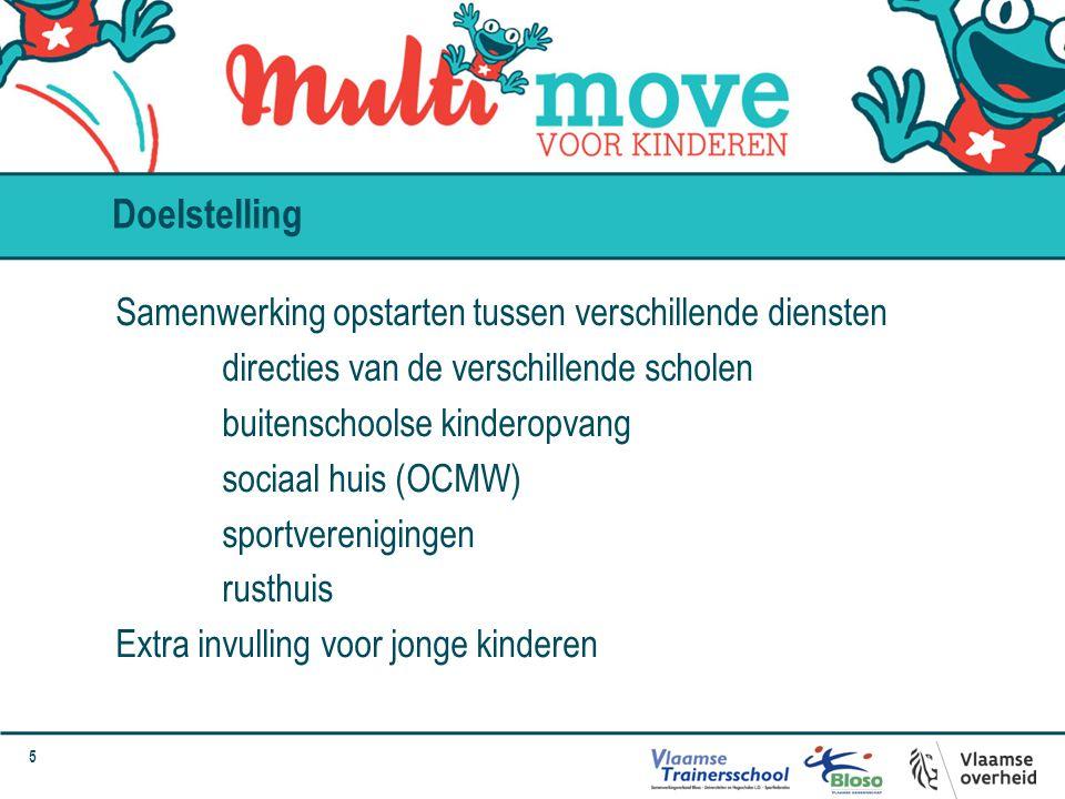 5 Samenwerking opstarten tussen verschillende diensten directies van de verschillende scholen buitenschoolse kinderopvang sociaal huis (OCMW) sportverenigingen rusthuis Extra invulling voor jonge kinderen Doelstelling