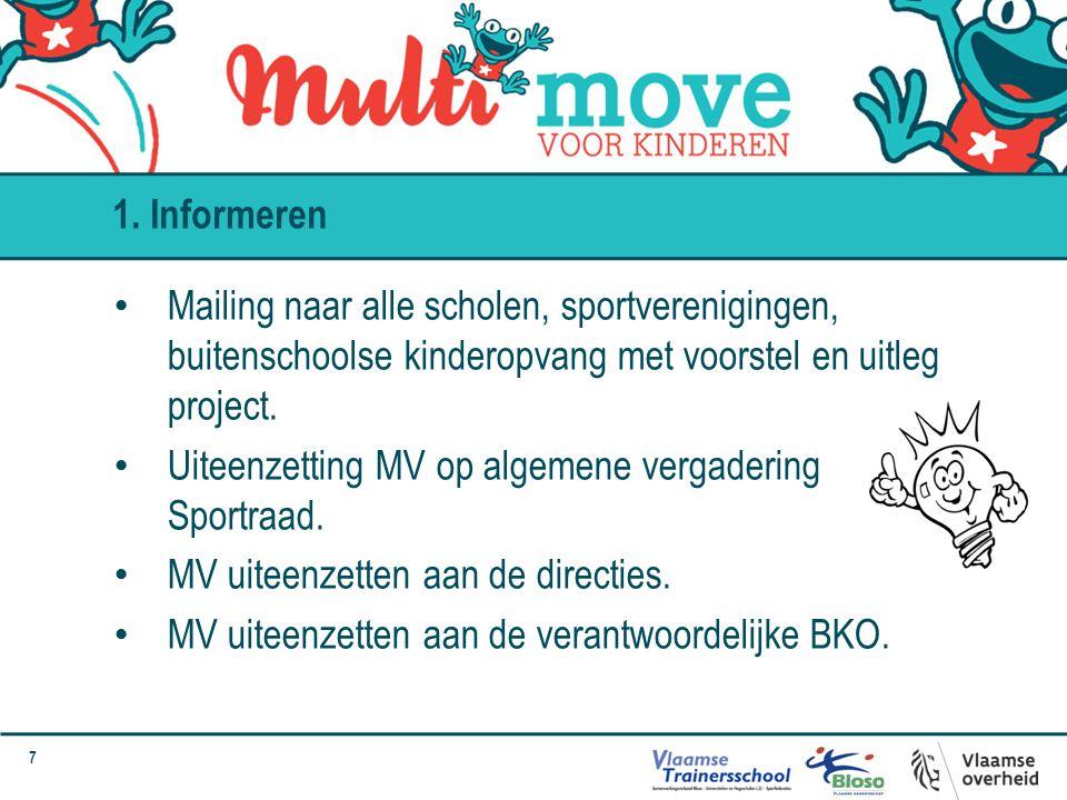 7 Mailing naar alle scholen, sportverenigingen, buitenschoolse kinderopvang met voorstel en uitleg project.