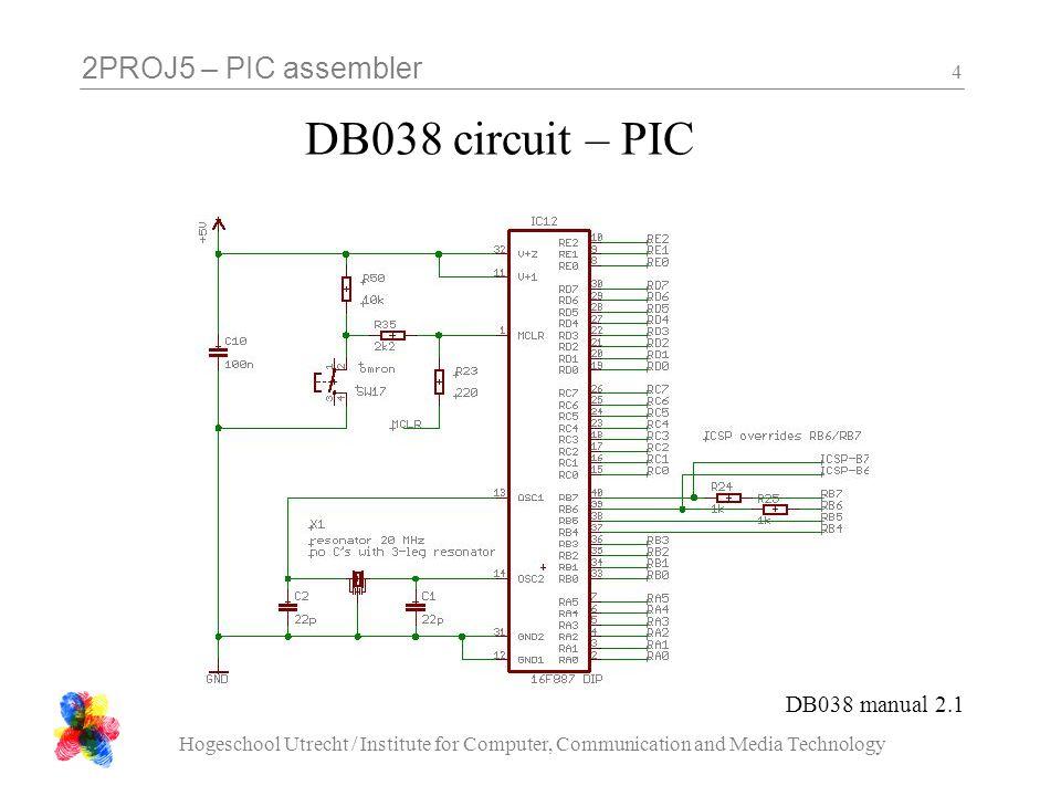 2PROJ5 – PIC assembler Hogeschool Utrecht / Institute for Computer, Communication and Media Technology 15 segment letters PIC pinDisplay Segment RD0A RD1B RD2C RD3D RD4E RD5F RD6G RD7DP let op: active low !