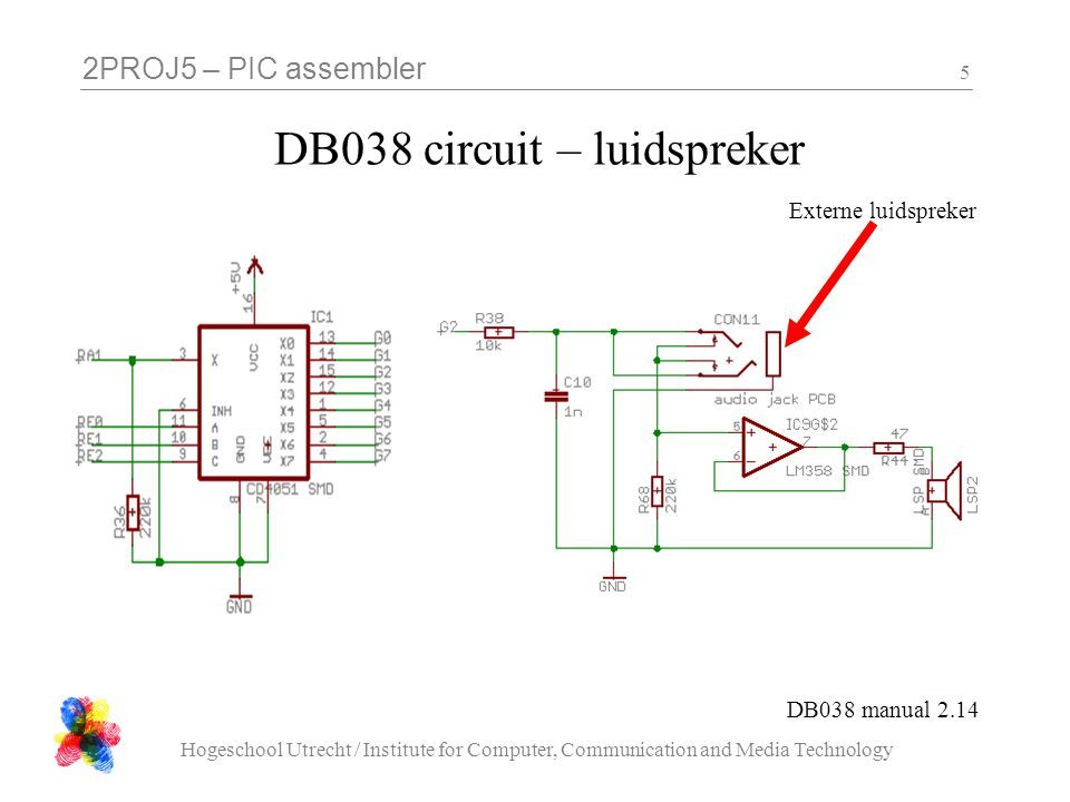 2PROJ5 – PIC assembler Hogeschool Utrecht / Institute for Computer, Communication and Media Technology 5 DB038 circuit – luidspreker DB038 manual 2.14 Externe luidspreker