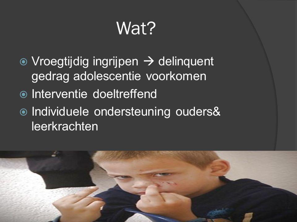 Wat?  Vroegtijdig ingrijpen  delinquent gedrag adolescentie voorkomen  Interventie doeltreffend  Individuele ondersteuning ouders& leerkrachten