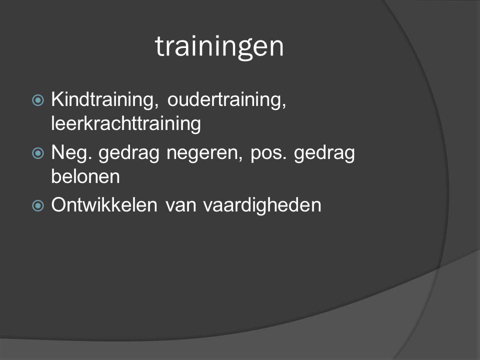 trainingen  Kindtraining, oudertraining, leerkrachttraining  Neg. gedrag negeren, pos. gedrag belonen  Ontwikkelen van vaardigheden