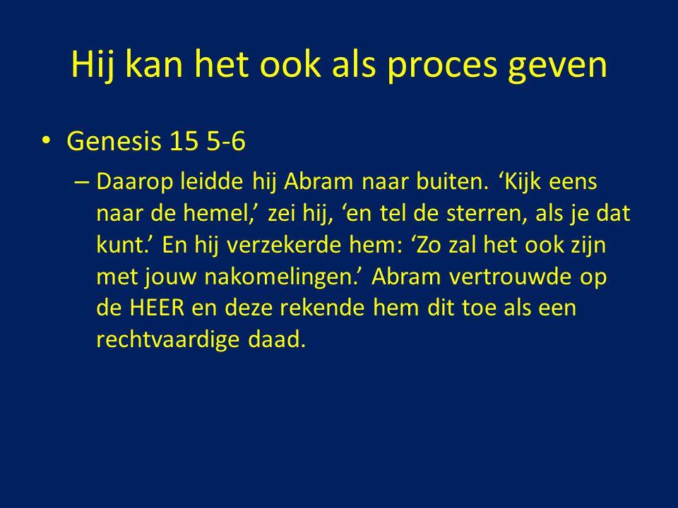 Genesis 15 5-6 – Daarop leidde hij Abram naar buiten. 'Kijk eens naar de hemel,' zei hij, 'en tel de sterren, als je dat kunt.' En hij verzekerde hem: