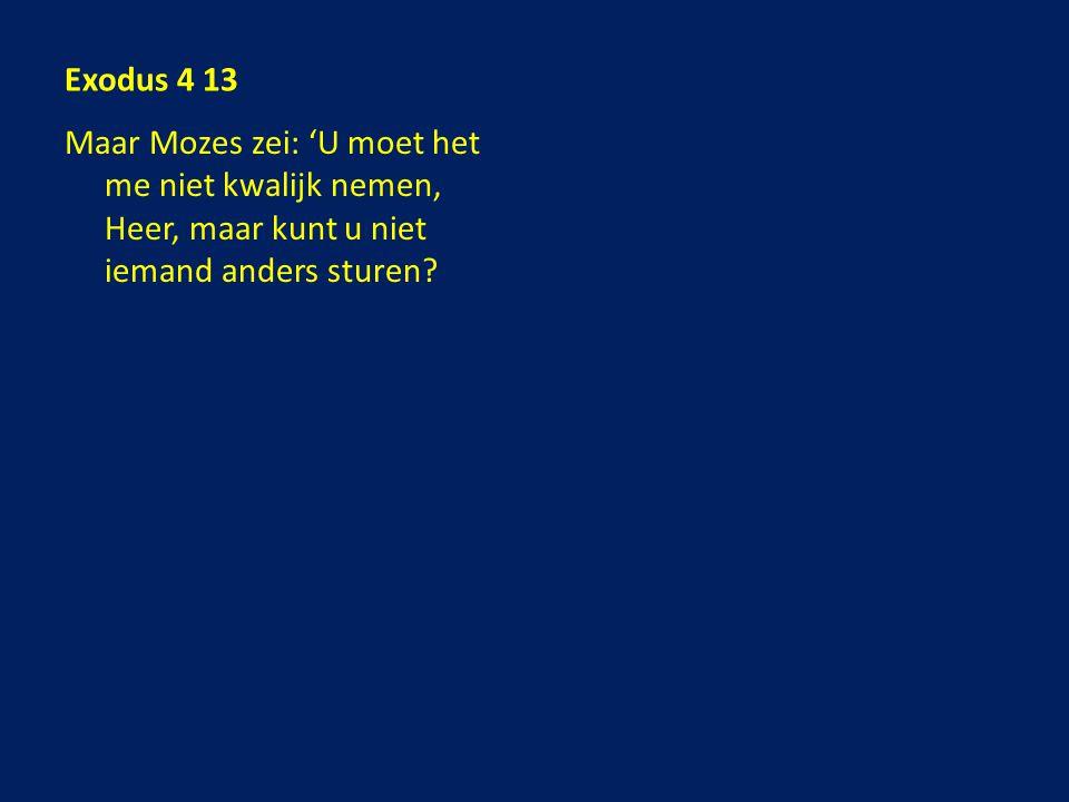 Maar Mozes zei: 'U moet het me niet kwalijk nemen, Heer, maar kunt u niet iemand anders sturen?