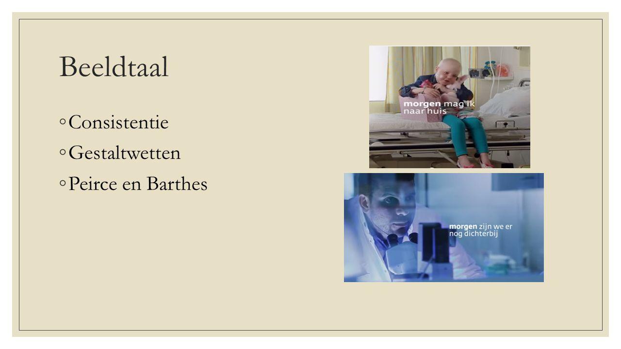 Beeldtaal ◦Consistentie ◦Gestaltwetten ◦Peirce en Barthes