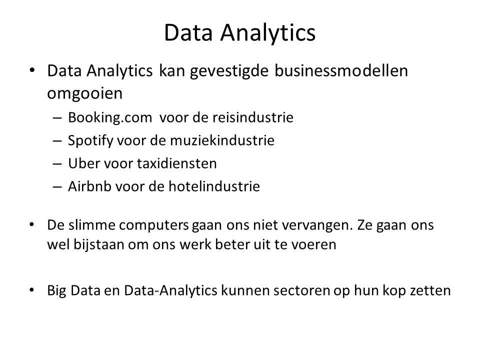 Data Analytics Data Analytics kan gevestigde businessmodellen omgooien – Booking.com voor de reisindustrie – Spotify voor de muziekindustrie – Uber v