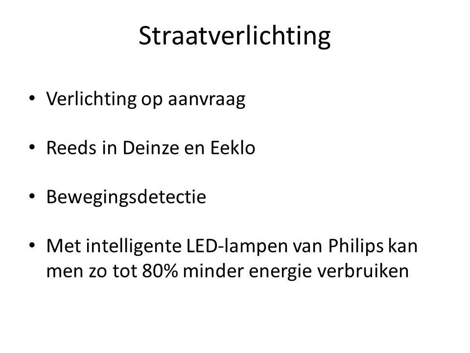 Straatverlichting Verlichting op aanvraag Reeds in Deinze en Eeklo Bewegingsdetectie Met intelligente LED-lampen van Philips kan men zo tot 80% minder