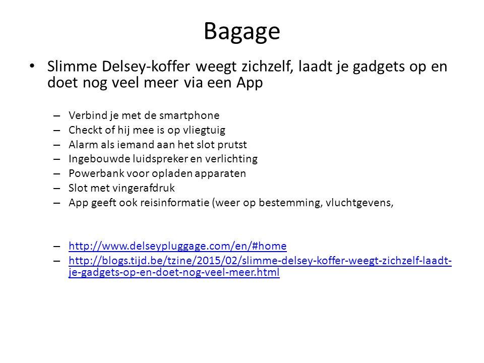 Bagage Slimme Delsey-koffer weegt zichzelf, laadt je gadgets op en doet nog veel meer via een App – Verbind je met de smartphone – Checkt of hij mee i