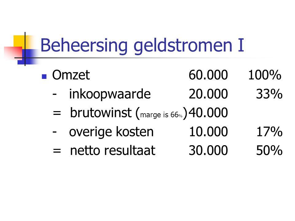 Beheersing geldstromen I Omzet 60.000100% - inkoopwaarde20.000 33% = brutowinst ( marge is 66 % )40.000 - overige kosten10.000 17% = netto resultaat30