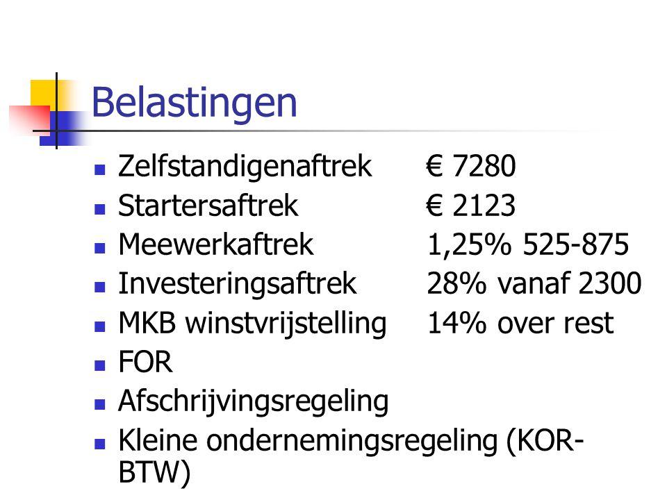 Belastingen Zelfstandigenaftrek € 7280 Startersaftrek€ 2123 Meewerkaftrek1,25% 525-875 Investeringsaftrek28% vanaf 2300 MKB winstvrijstelling14% over