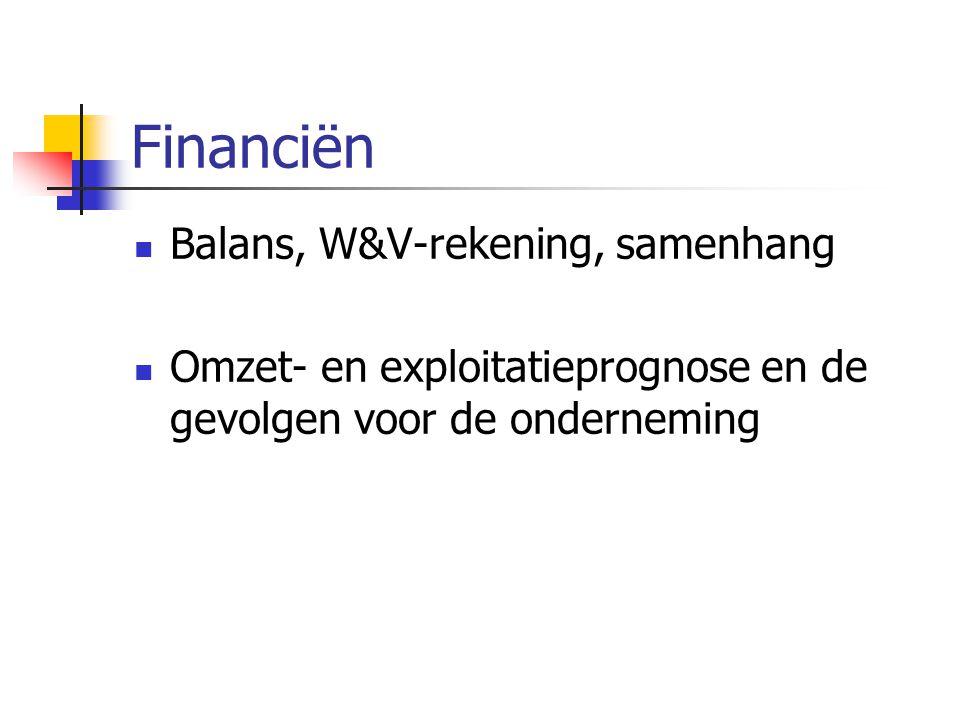 Financiën Balans, W&V-rekening, samenhang Omzet- en exploitatieprognose en de gevolgen voor de onderneming